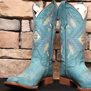 Embroidery Turquoise Cowhide Leather Cowgirl Boots